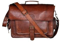 16 Inch Men's Messenger Bag, Vintage Genuine Leather Large S