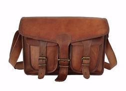 Vintage Leather Messenger Bag Mens 13 Inch MacBook Satchel L
