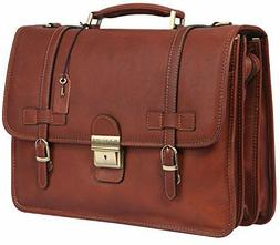 Banuce Vintage Leather Tote Briefcase Messenger Bag 14 inch