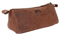 Rustic Town Leather Pencil Case - Zippered Pen Pouch for Sch