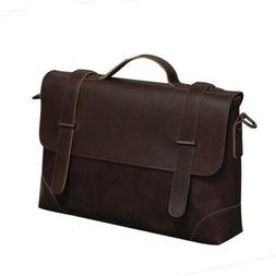 Vintage Men Business Leather Briefcase Handbag Messenger Lap