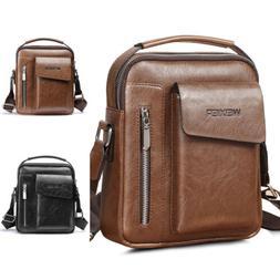 Vintage Men's Leather Messenger Bag Cross-body Tote Handbag