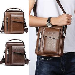 Vintage Mens Cross-body Shoulder Messenger Bag Leather Handb