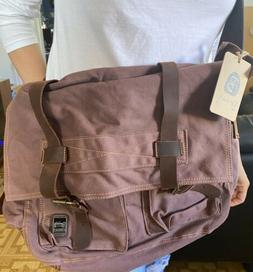 Berchirly Vintage Military Canvas Leather Messenger Day Bag