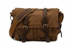 Sechunk Vintage Military Leather Canvas Laptop Bag Messenger