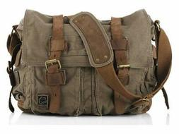 Sechunk Vintage Military Leather Canvas Laptop Bag Messenger