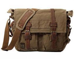 Berchirly Vintage Military Men Canvas Messenger Bag 17.3Inch