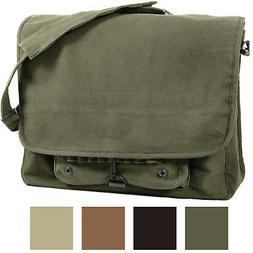 Vintage Military Messenger Shoulder Bag Paratrooper Stonewas