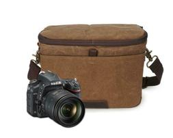 Peacechaos Waterproof Canvas Leather Trim DSLR SLR Shockproo