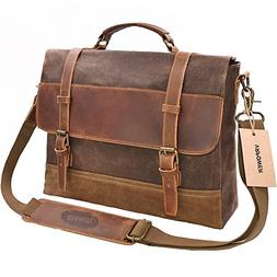 VRPOWER Waterproof Laptop Briefcase, 15.6 inch, Waxed Canvas
