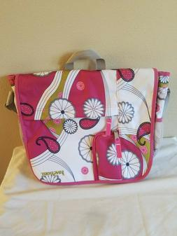 Jansport White and Pink Floral Messenger Bag