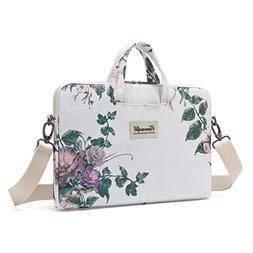 Canvaslife White camellia Canvas Laptop Shoulder Messenger B