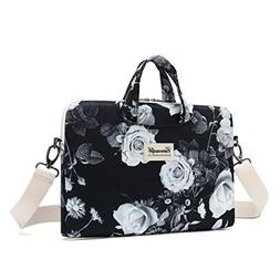 Canvaslife White Flower Patten Waterproof Laptop Shoulder Me