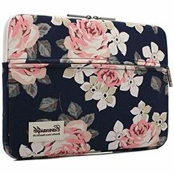 """White Rose Pattern 13"""" Canvas laptop sleeve with pocket 13"""""""