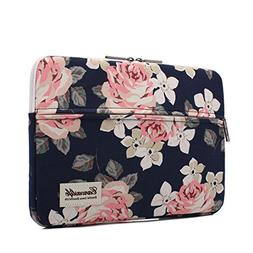 "White Rose Pattern 13"" Canvas laptop sleeve with pocket 13"""