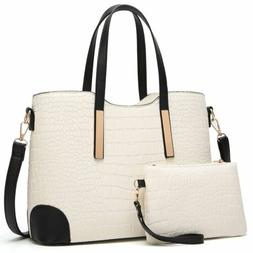 White Women Top Handle Satchel Handbags Shoulder Bag Tote Pu