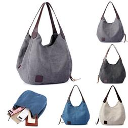 Women Canvas Handbag Shoulder Bags Large Tote Purse Travel M