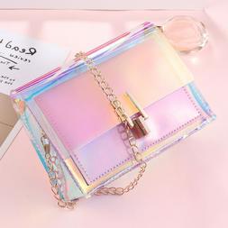 Women Clear Transparent jelly Candy Gradient Color Shoulder