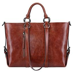 S-ZONE Women's 3-Way Genuine Leather Work Tote Laptop Should