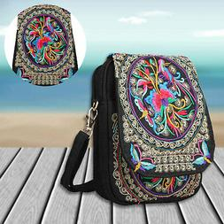 Women Lady Cell Phone Bag Retro Embroider Purse Messenger Cr