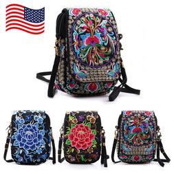 Women Mini Shoulder Bag Embroidery Wallet Messenger Bag Cell