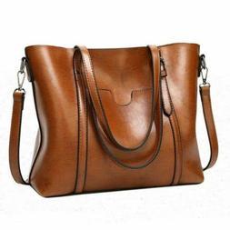 Women Oil Wax Leather Tote Purse Messenger Crossbody Bag Sho