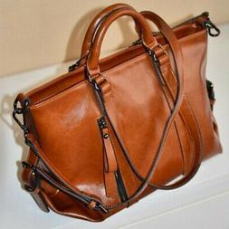 Women Oiled Leather Shoulder Bag Tote Purse Handbag Messenge
