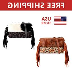 Women's Hobo Handbag Tote Messenger Bags Cowhide Leather Pur