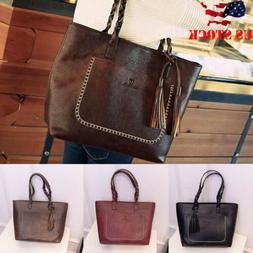 Women's Leather Tote Bag Handbag Lady Purse Shoulder Messeng