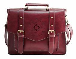 ECOSUSI Women's PU Leather Laptop Bag Tote Messenger Bag Cro