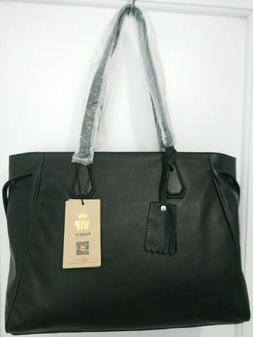 Kattee Women's Soft Black Leather Briefcase Tote Shoulder Ba