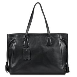 Kattee Women's Soft Leather Tote Briefcase Shoulder Bag Fits