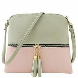 Women Shoulder Bags Leather Tassel Crossbody Hit Color Messe