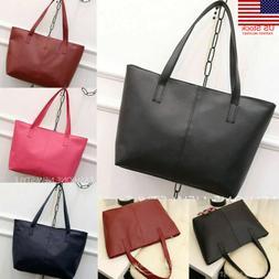 Women Shoulder Messenger Bag PU Leather Tote Purse Handbag C