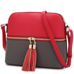 Dasein Women Messenger Shoulder Bag Handbags Faux Leather Cr