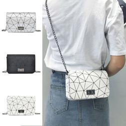 Womens Ladies Leather Chain Cross Body Messenger Side Bag Sh