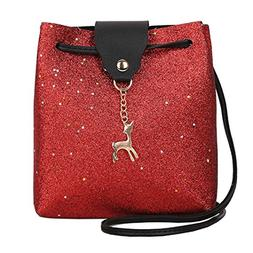 AMA Womens Leather Crossbody Small Sequins Shoulder Bags Sat
