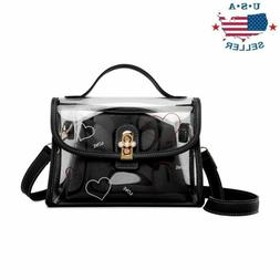 Womens Transparent Handbag Tote Messenger Bag Clear Jelly Pu