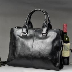 Work Bag Laptop Briefcase Men's PU Leather Shoulder Messenge